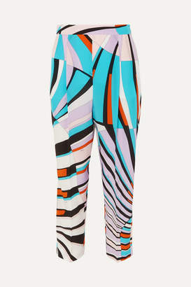 Emilio Pucci Cropped Printed Silk Crepe De Chine Tapered Pants - Lilac