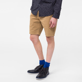 Paul Smith Men's Sand Garment-Dyed Stretch Pima-Cotton Shorts