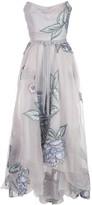Marchesa Draped Corset Embroidered Silk Organza Gown