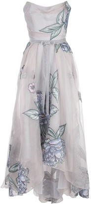 Marchesa Notte Draped Corset Embroidered Silk Organza Gown