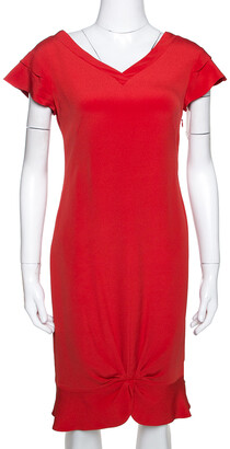 Valentino Lacquer Red Silk Crepe Draped Sheath Dress M