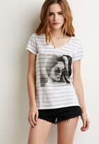 Forever 21 Reverse-Striped Girl Graphic Tee