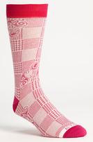 Etro Herringbone Paisley Socks Pink Medium/Large
