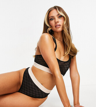 Missy Empire exclusive lingerie mesh contrast motif knicker in black
