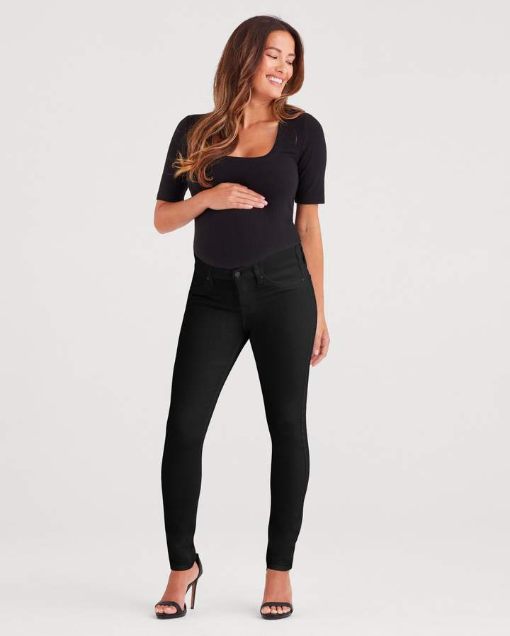 7 For All Mankind Maternity b(air) Denim Ankle Skinny in Black