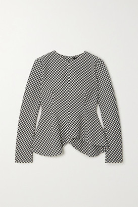 A.W.A.K.E. Mode Gingham Woven Peplum Top - Black