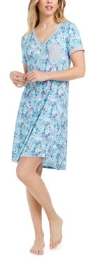 Cuddl Duds Printed Henley Sleep T-Shirt Nightgown