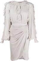 Giambattista Valli frill trimmed fitted midi dress