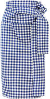Silvia Tcherassi - Saturnio Belted Gingham Cotton-blend Pencil Skirt - Blue
