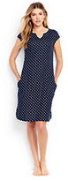 Lands' End Women's Petite Cotton Cap Sleeve Cover-up Dress-Deep Sea Dot
