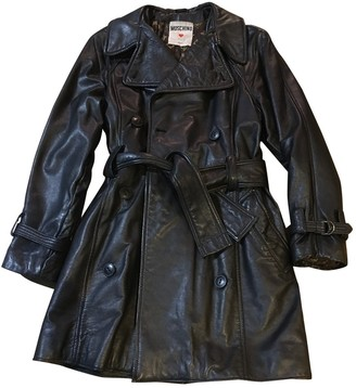Moschino Love Black Leather Coat for Women Vintage