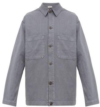 Lemaire Patch-pocket Cotton-jersey Overshirt - Mens - Light Blue
