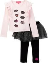 Betsey Johnson Sequin Patch Ruffle Tee & Tulle Legging Set (Toddler Girls)