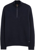 Boss Artic Textured-knit Cotton Sweatshirt