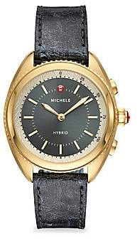Michele Women's Gold-Plated Shadow Grey Dial & Shadow Grey Ostrich Hybrid Smart Watch