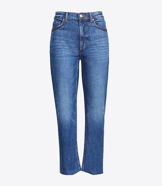 LOFT Petite High Rise Straight Crop Jeans in Authentic Dark Indigo Wash