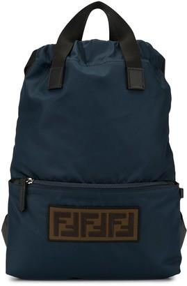 Fendi Kids FF logo patch backpack