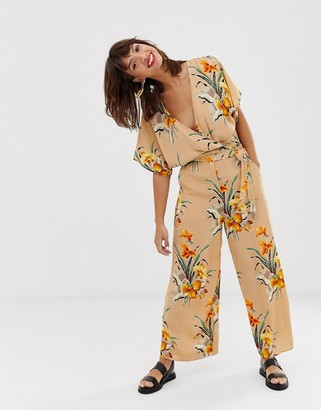 And other stories & wrap jumpsuit in tropical flower print-Beige