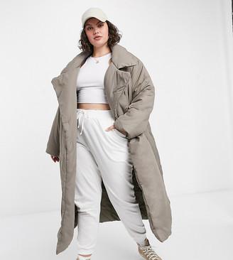 ASOS DESIGN Curve puffer maxi coat with belt in hazelnut