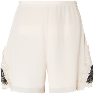 See by Chloe Lace-trimmed Crepe De Chine Shorts