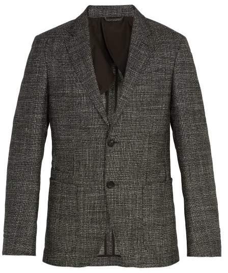 Ermenegildo Zegna Single Breasted Checked Wool Blend Blazer - Mens - Grey