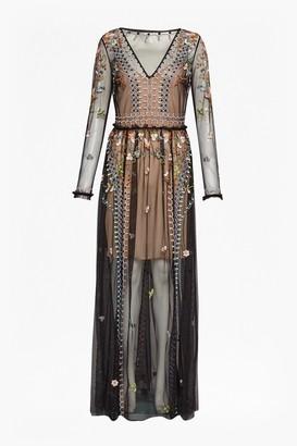 French Connection Bijou Stitch Long Sleeved V Neck Maxi Dress