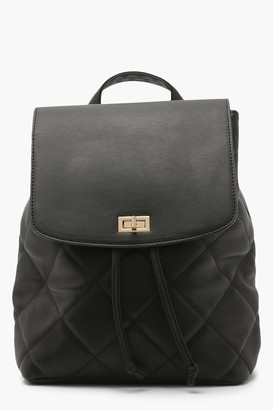 boohoo Pu Padded And Quilted Rucksack