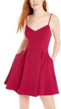 B. Darlin Juniors' Pleated-Skirt Fit & Flare Dress