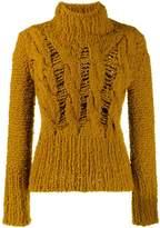 Gentry Portofino distressed knit turtleneck jumper