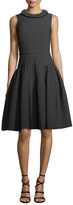 Carmen Marc Valvo Sleeveless Crepe Dress