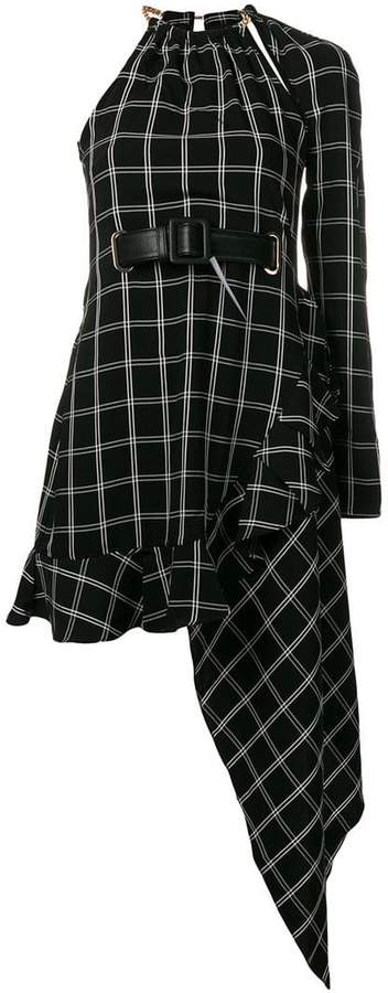 Self-Portrait windowpane asymmetric dress