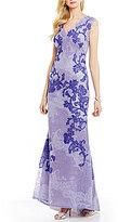 Tadashi Shoji V-Neck Sleeveless V-Back Lace A-Line Gown