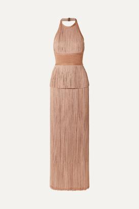 Herve Leger Metallic Fringed Bandage Halterneck Gown - Blush