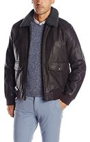 Dockers Rugged Cow Leather Look Two Pocket Aviator Bomber W. Removable Sherpa Collar