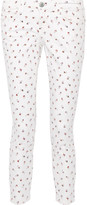 Current/Elliott The Stiletto Printed Mid-rise Skinny Jeans - White