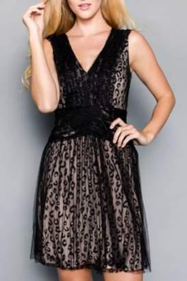 Minuet Black Cheetah Tule Dress