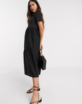 Stradivarius jersey & poplin midi smock dress in black