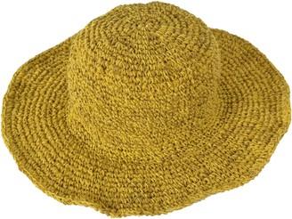 TATTOPANI Yellow Wide Brim Knitted Summer Crochet Hemp Cotton Mix Hat- DT-HAT-1016YLW