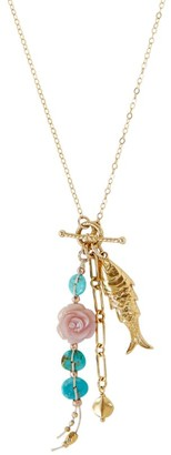 Chan Luu Turquoise & Mother-of-Pearl Charm Lariat Necklace
