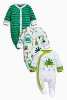 Next Boys Green/White Dinosaur Sleepsuits Three Pack (0mths-2yrs)