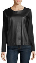 Majestic Paris for Neiman Marcus Long-Sleeve Leather-Front Crewneck Top