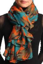 LissKiss Pine Green, Orange & Grey Camouflage Unisex Scarf & Beach Sarong - Scarf