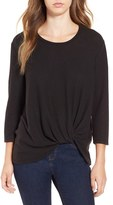 June & Hudson Women's Knot Front Sweater Knit Tee