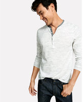 Express marled chambray contrast henley