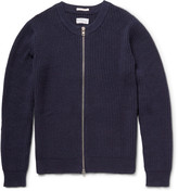 Gant The Zipper Ribbed Cotton-Blend Cardigan