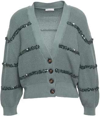 Brunello Cucinelli Sequin-embellished Embroidered Cotton Cardigan