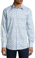 English Laundry Paisley-Print Sport Shirt, Blue