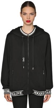 Dolce & Gabbana Logo Printed Full Zip Sweatshirt Hoodie