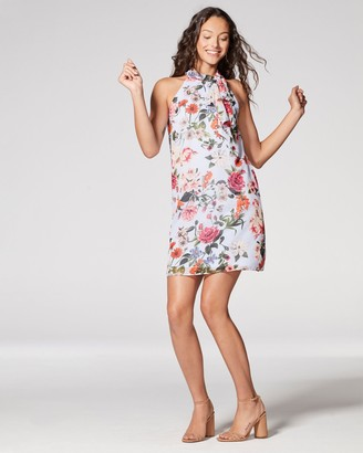 Vince Camuto Floral-print Chiffon Bow-neck Dress