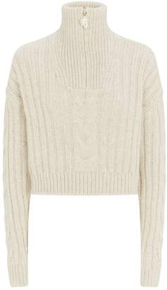 Nanushka Eria Crop Cable-Knit Sweater